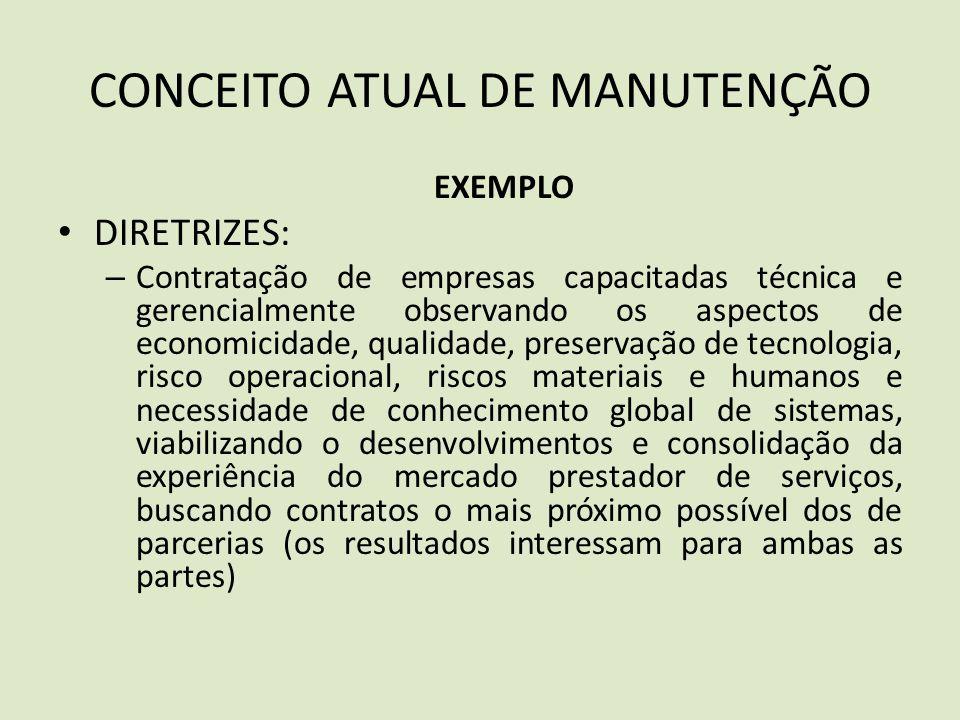 CONCEITO ATUAL DE MANUTENÇÃO EXEMPLO DIRETRIZES: – Contratação de empresas capacitadas técnica e gerencialmente observando os aspectos de economicidad