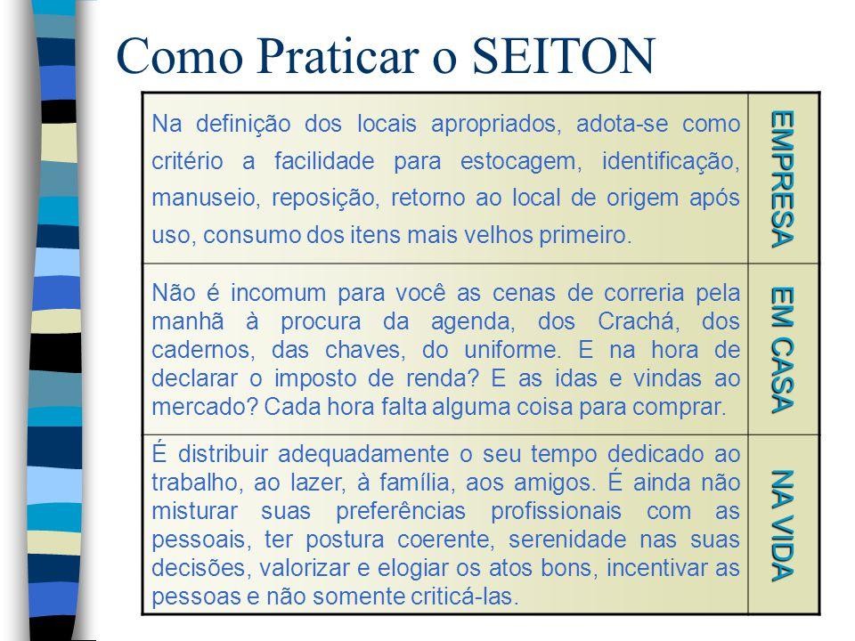 Como Praticar o SEITON Na definição dos locais apropriados, adota-se como critério a facilidade para estocagem, identificação, manuseio, reposição, re
