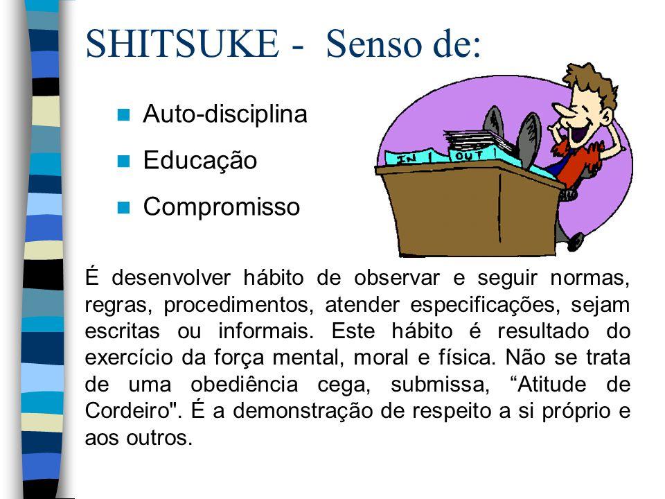 SHITSUKE - Senso de: É desenvolver hábito de observar e seguir normas, regras, procedimentos, atender especificações, sejam escritas ou informais. Est