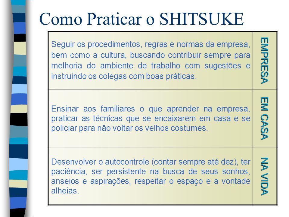 Como Praticar o SHITSUKE Seguir os procedimentos, regras e normas da empresa, bem como a cultura, buscando contribuir sempre para melhoria do ambiente