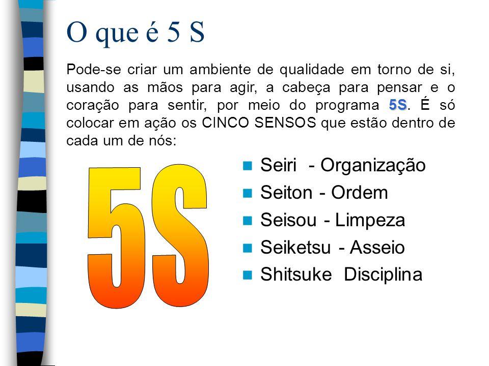 O que é 5 S Seiri - Organização Seiton - Ordem Seisou - Limpeza Seiketsu - Asseio Shitsuke Disciplina 5S Pode-se criar um ambiente de qualidade em tor