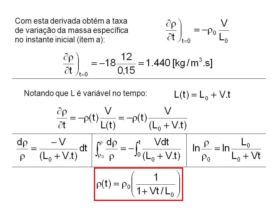 Com esta derivada obtém a taxa de variação da massa específica no instante inicial (item a): Notando que L é variável no tempo: