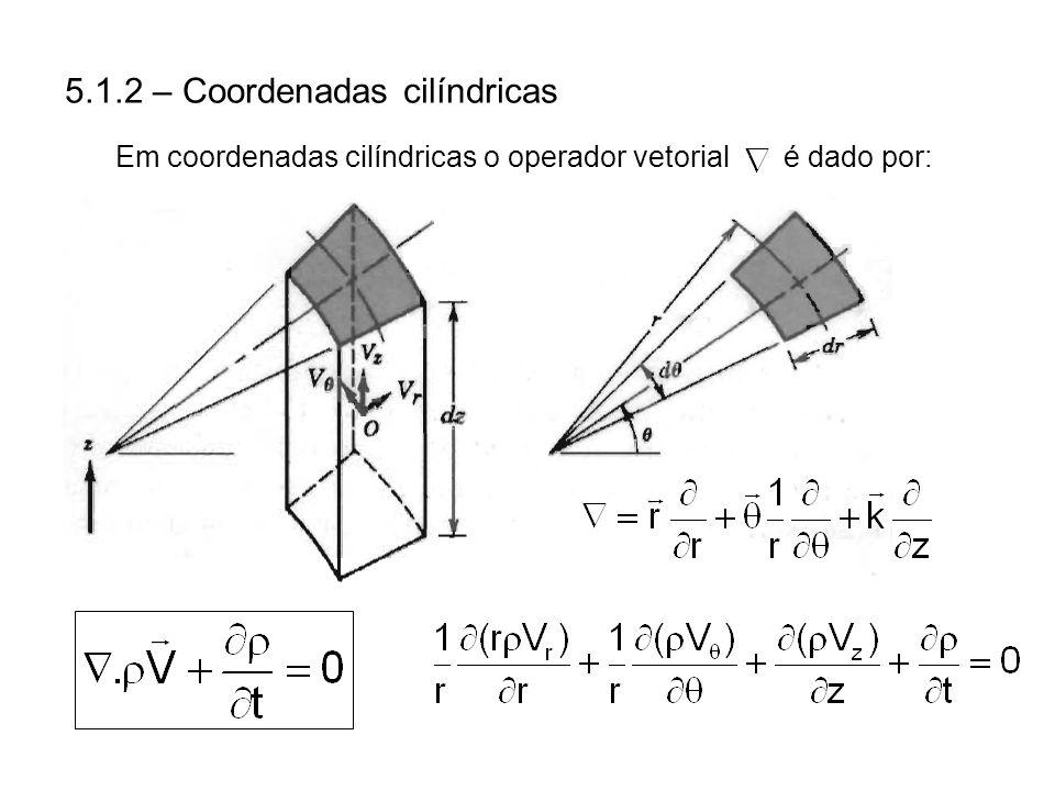5.1.2 – Coordenadas cilíndricas Em coordenadas cilíndricas o operador vetorial é dado por: