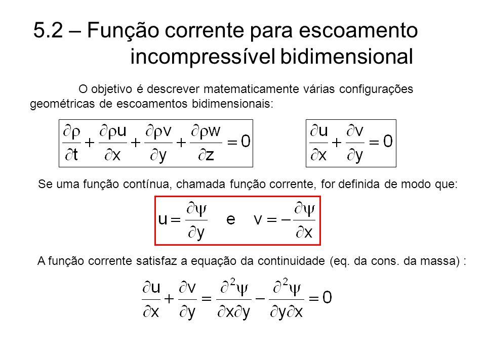 5.2 – Função corrente para escoamento incompressível bidimensional O objetivo é descrever matematicamente várias configurações geométricas de escoamen