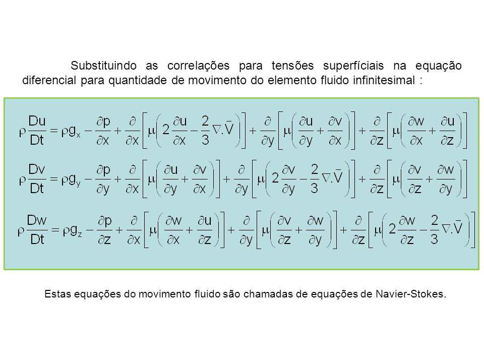 Substituindo as correlações para tensões superfíciais na equação diferencial para quantidade de movimento do elemento fluido infinitesimal : Estas equ