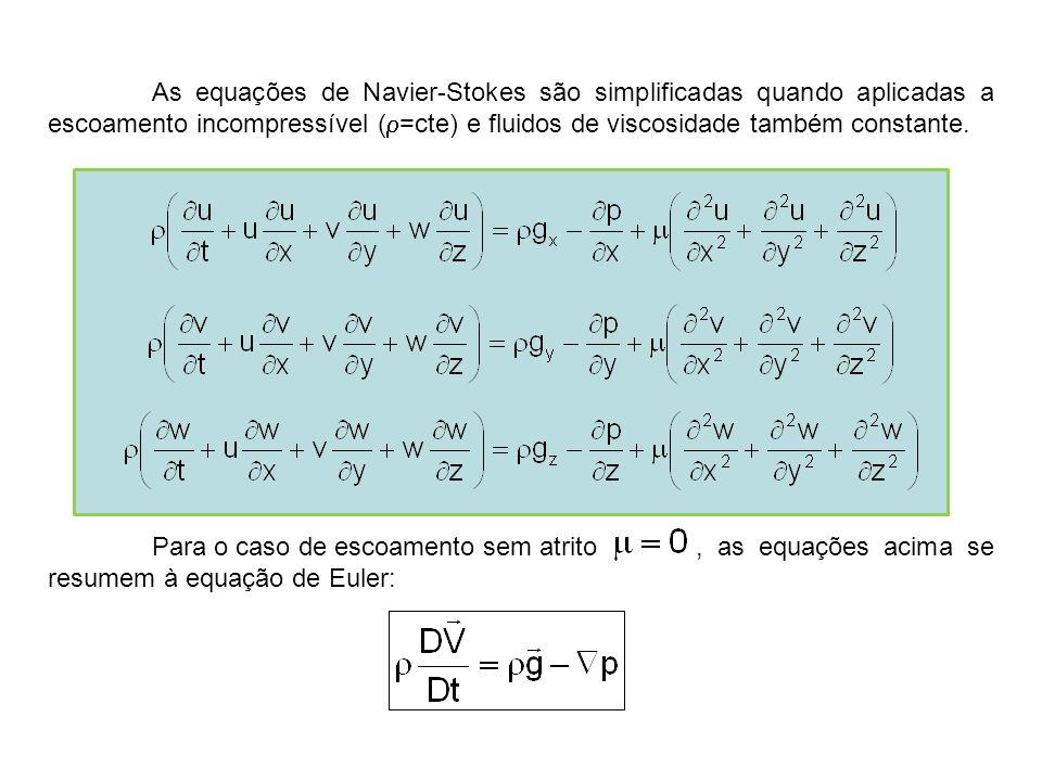As equações de Navier-Stokes são simplificadas quando aplicadas a escoamento incompressível (  =cte) e fluidos de viscosidade também constante. Para
