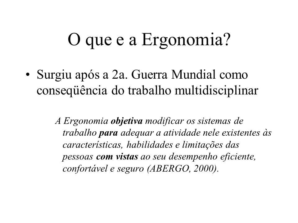 O que e a Ergonomia? Surgiu após a 2a. Guerra Mundial como conseqüência do trabalho multidisciplinar A Ergonomia objetiva modificar os sistemas de tra