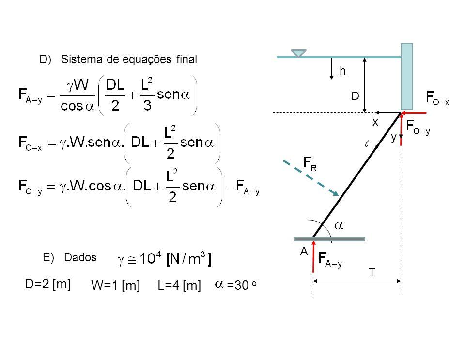 D) Sistema de equações final E) Dados W=1 [m]=30 o L=4 [m] D=2 [m] x y T l h D A