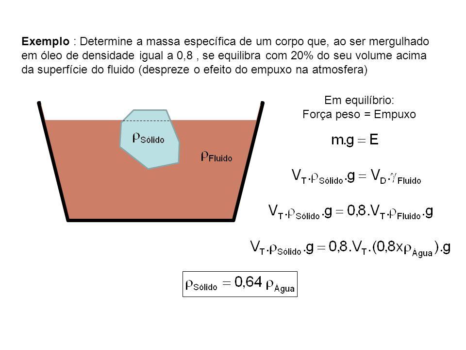 Exemplo : Determine a massa específica de um corpo que, ao ser mergulhado em óleo de densidade igual a 0,8, se equilibra com 20% do seu volume acima da superfície do fluido (despreze o efeito do empuxo na atmosfera) Em equilíbrio: Força peso = Empuxo
