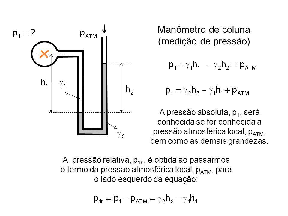 Manômetro de coluna (medição de pressão) A pressão absoluta, p 1, será conhecida se for conhecida a pressão atmosférica local, p ATM, bem como as demais grandezas.