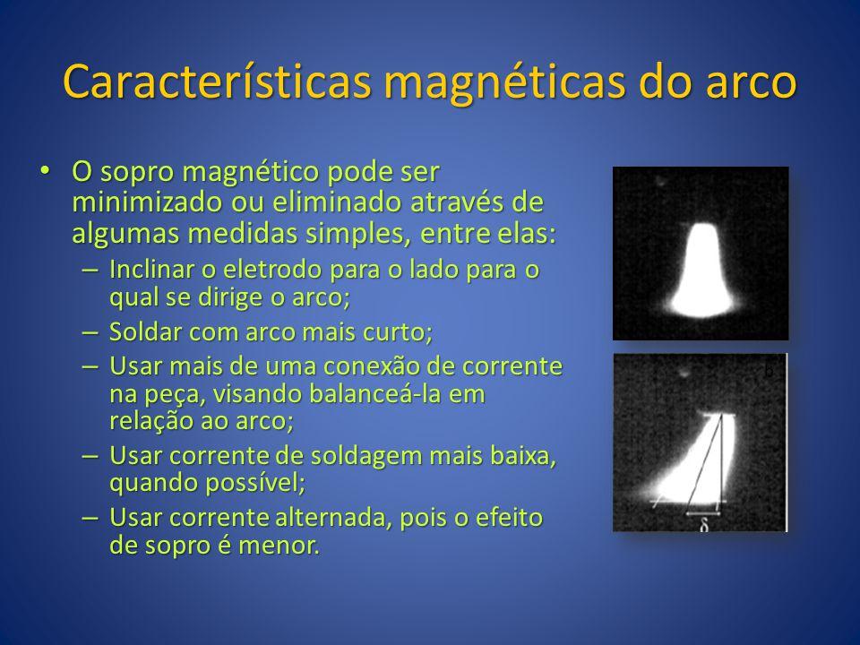 Características magnéticas do arco O sopro magnético pode ser minimizado ou eliminado através de algumas medidas simples, entre elas: O sopro magnétic