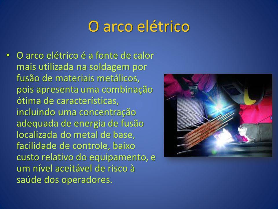 O arco elétrico O arco elétrico é a fonte de calor mais utilizada na soldagem por fusão de materiais metálicos, pois apresenta uma combinação ótima de