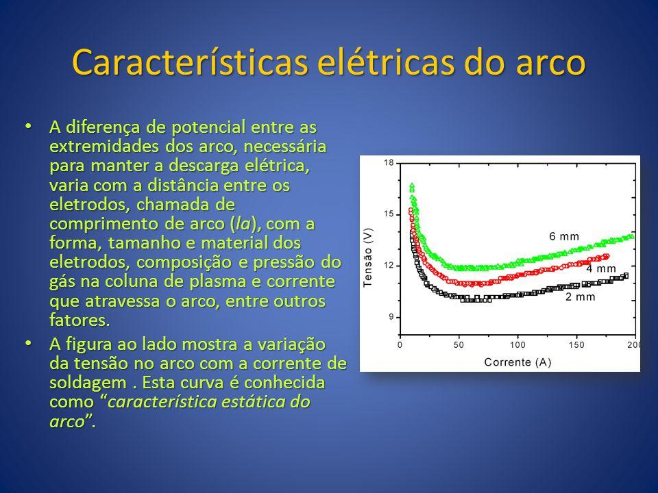 Características elétricas do arco A diferença de potencial entre as extremidades dos arco, necessária para manter a descarga elétrica, varia com a dis