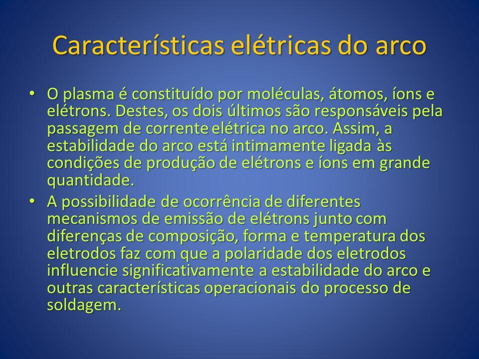 Características elétricas do arco O plasma é constituído por moléculas, átomos, íons e elétrons. Destes, os dois últimos são responsáveis pela passage
