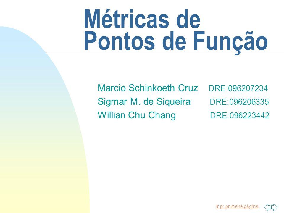 Ir p/ primeira página Métricas de Pontos de Função Marcio Schinkoeth Cruz DRE:096207234 Sigmar M. de Siqueira DRE:096206335 Willian Chu Chang DRE:0962
