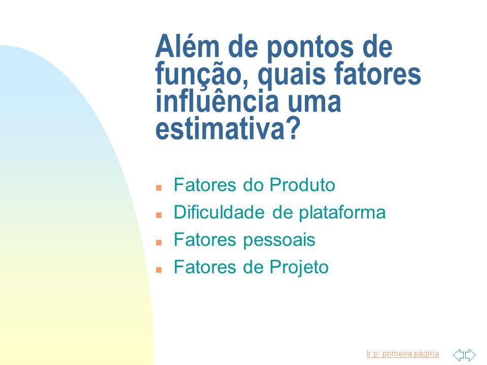 Ir p/ primeira página Além de pontos de função, quais fatores influência uma estimativa? n Fatores do Produto n Dificuldade de plataforma n Fatores pe
