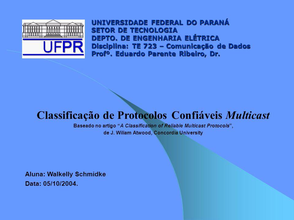 Outubro de 2004 TE-72312 Mecanismos, Modelos de Comunicação e Normas 2) Detecção e Relatório de Erros: - mecanismo: detecção de falta de dados pelo número de seqüência dos pacotes de prioridade; - modelo de comunicação: envio de relatório unicast ou multicast; - regras: relatar pacotes que faltarem quando solicitado ou em condições especiais (FEC – forwarding error correction) 3) Recuperação de Dados: - mecanismo: reenvio dos dados perdidos (FEC); - modelo de comunicação: recuperação / envio de objetos (pacotes); emissor original ou agente local; - regras: tabela a seguir....