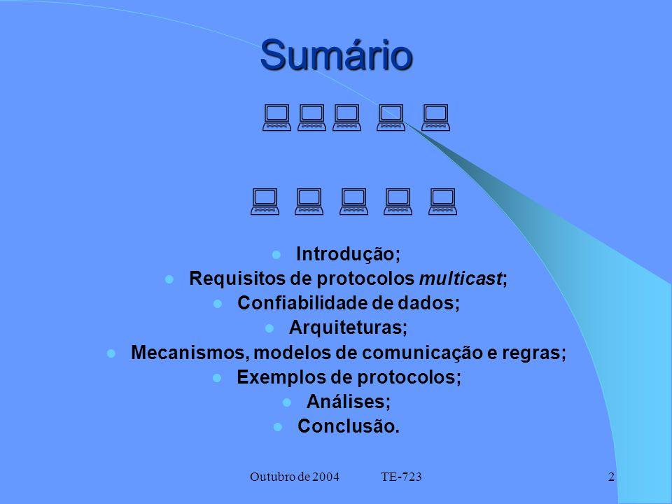 Outubro de 2004 TE-7232 Sumário Introdução; Requisitos de protocolos multicast; Confiabilidade de dados; Arquiteturas; Mecanismos, modelos de comunicação e regras; Exemplos de protocolos; Análises; Conclusão.