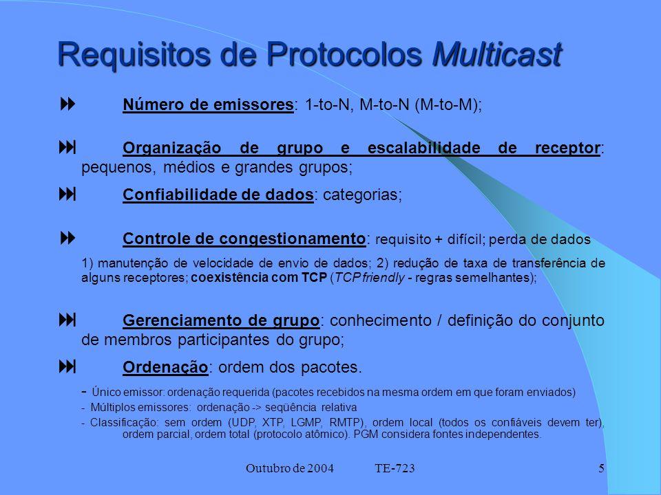 Outubro de 2004 TE-7235 Requisitos de Protocolos Multicast  Número de emissores: 1-to-N, M-to-N (M-to-M);  Organização de grupo e escalabilidade de receptor: pequenos, médios e grandes grupos;  Confiabilidade de dados: categorias;  Controle de congestionamento: requisito + difícil; perda de dados 1) manutenção de velocidade de envio de dados; 2) redução de taxa de transferência de alguns receptores; coexistência com TCP (TCP friendly - regras semelhantes);  Gerenciamento de grupo: conhecimento / definição do conjunto de membros participantes do grupo;  Ordenação: ordem dos pacotes.