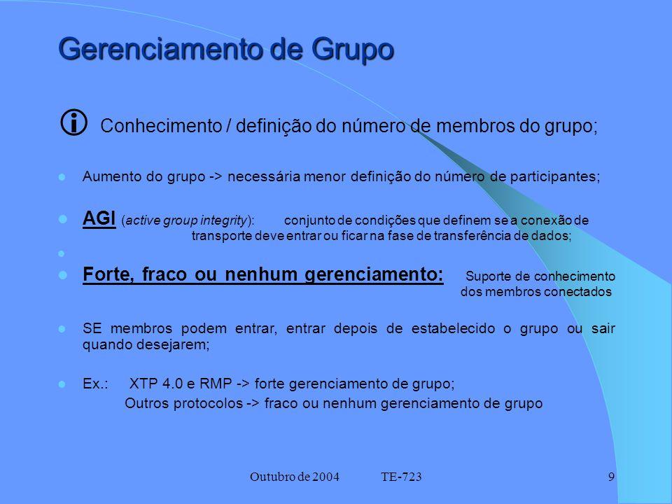 Outubro de 2004 TE-7239 Gerenciamento de Grupo  Conhecimento / definição do número de membros do grupo; Aumento do grupo -> necessária menor definição do número de participantes; AGI (active group integrity): conjunto de condições que definem se a conexão de transporte deve entrar ou ficar na fase de transferência de dados; Forte, fraco ou nenhum gerenciamento: Suporte de conhecimento dos membros conectados SE membros podem entrar, entrar depois de estabelecido o grupo ou sair quando desejarem; Ex.: XTP 4.0 e RMP -> forte gerenciamento de grupo; Outros protocolos -> fraco ou nenhum gerenciamento de grupo