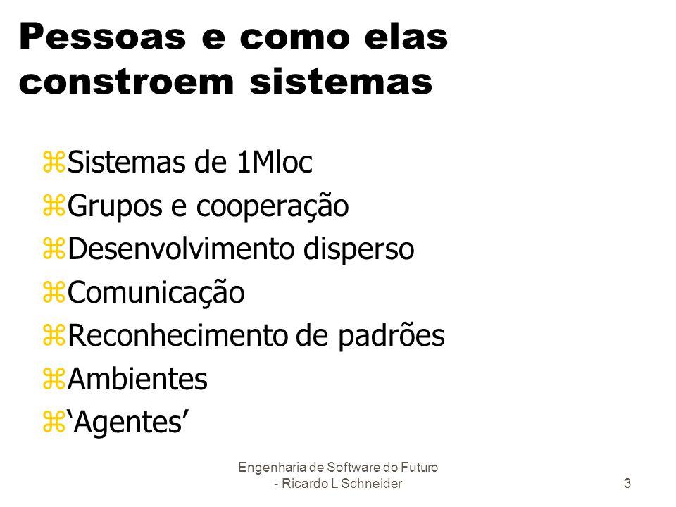 Engenharia de Software do Futuro - Ricardo L Schneider3 Pessoas e como elas constroem sistemas zSistemas de 1Mloc zGrupos e cooperação zDesenvolviment