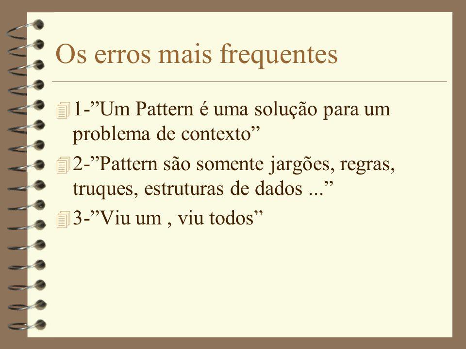 Os erros mais frequentes 4 1- Um Pattern é uma solução para um problema de contexto 4 2- Pattern são somente jargões, regras, truques, estruturas de dados... 4 3- Viu um, viu todos