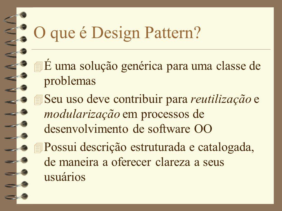 Descrição de Patterns 4 Deve ser aderente à meta de reutilização 4 Na criação de catálogos, as descrições devem seguir uma estrutura 4 Cada autor define sua estrutura de descrição, mas fundamentalmente, devem ser apresentados exemplos práticos