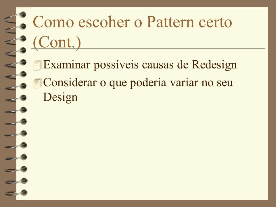 –Método passo-a-passo: 4 Leia o Pattern 4 Entenda as classes e objetos envolvidos 4 Estude a seção de exemplos 4 Escolha nomes significativos (na sua aplicação) para os participantes do Pattern Como usar