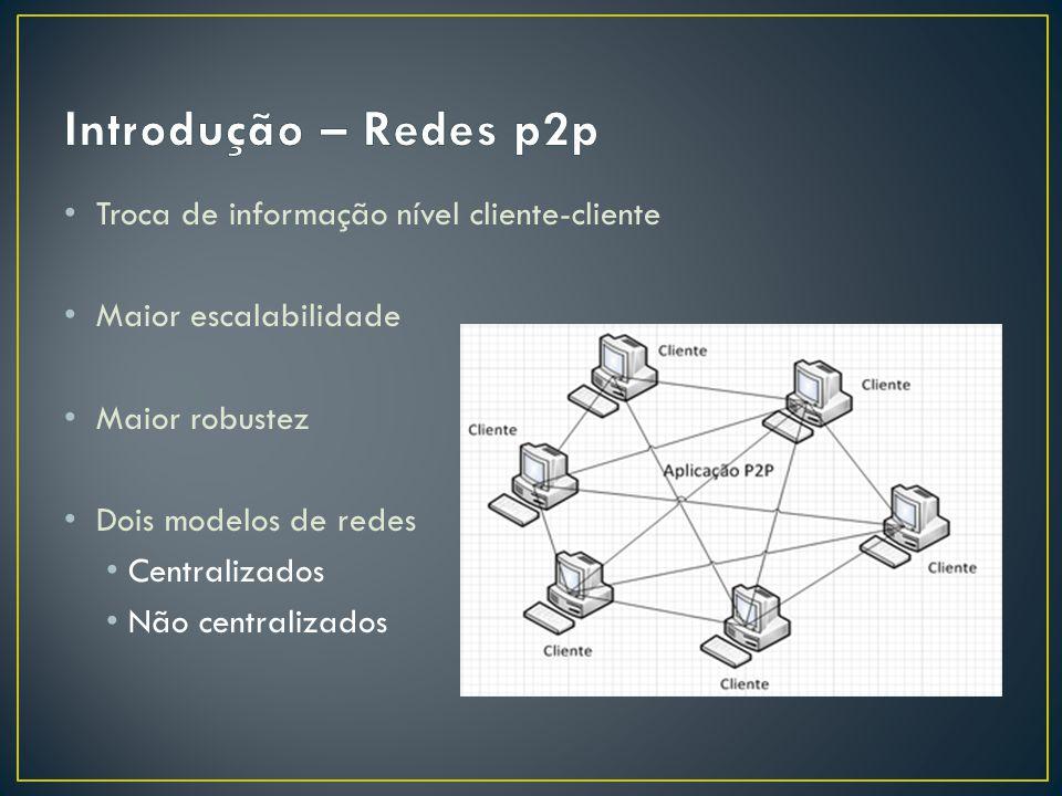 Troca de informação nível cliente-cliente Maior escalabilidade Maior robustez Dois modelos de redes Centralizados Não centralizados