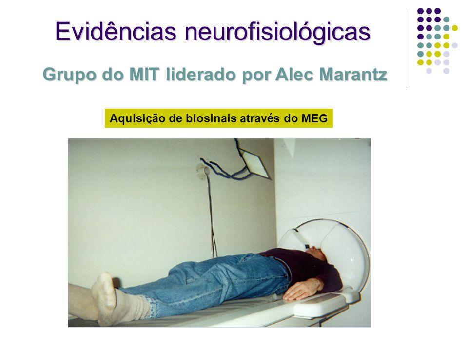 Evidências neurofisiológicas Aquisição de biosinais através do MEG Grupo do MIT liderado por Alec Marantz