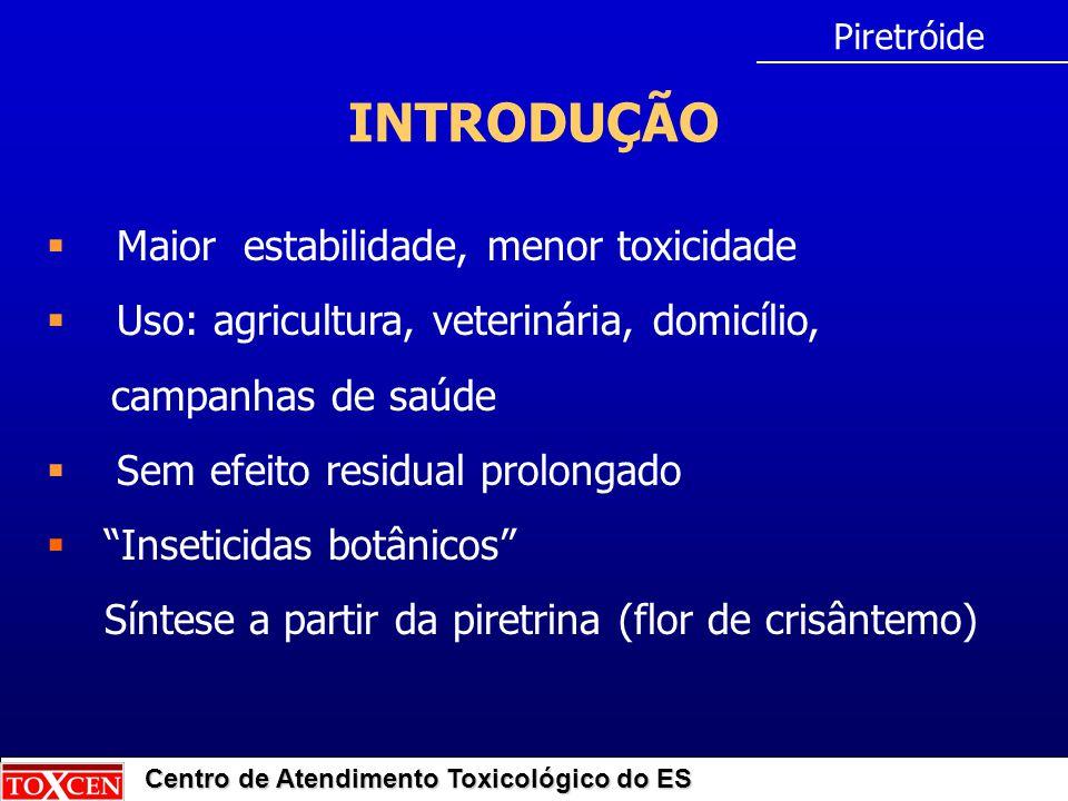Centro de Atendimento Toxicológico do ES INTRODUÇÃO  Maior estabilidade, menor toxicidade  Uso: agricultura, veterinária, domicílio, campanhas de sa