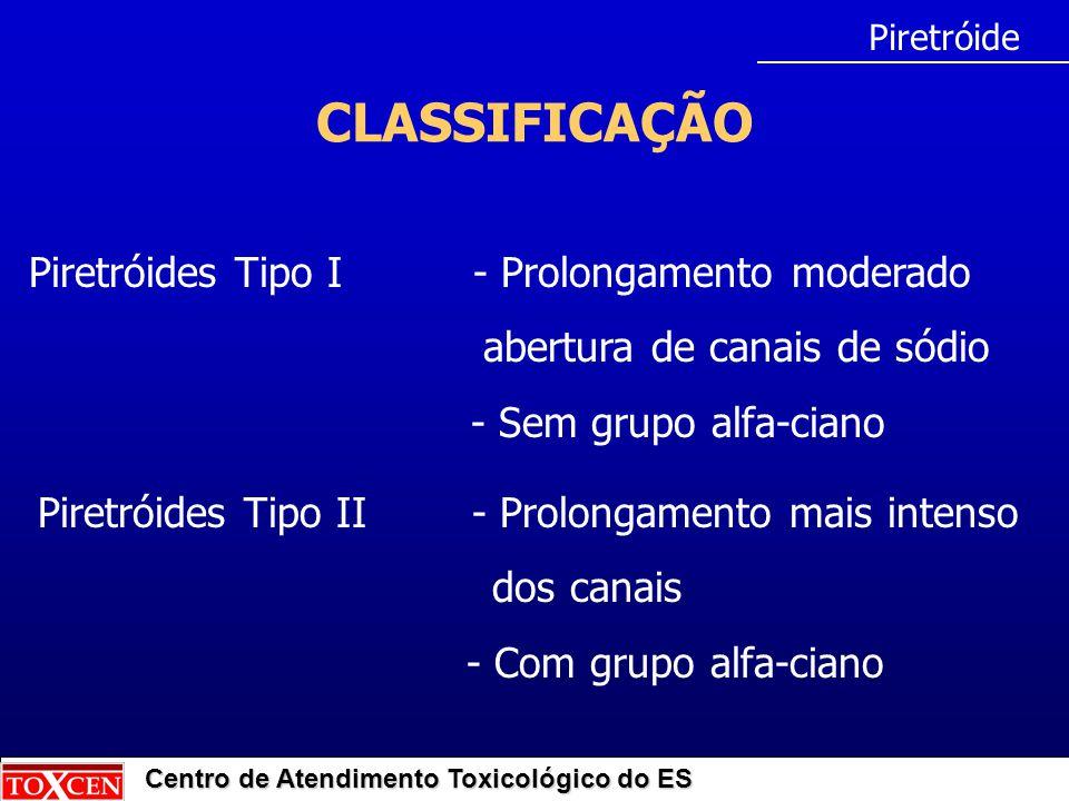 Centro de Atendimento Toxicológico do ES CLASSIFICAÇÃO Piretróide Piretróides Tipo II - Prolongamento mais intenso dos canais - Com grupo alfa-ciano P