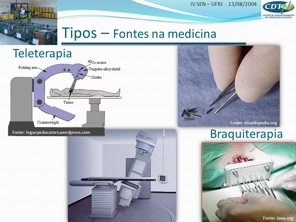 IV SEN – UFRJ - 13/08/2004 Tipos – Fontes na medicina Teleterapia Braquiterapia Fonte: iaea.org Fonte: legacyeducators.wordpress.com Fonte: en.wikiped