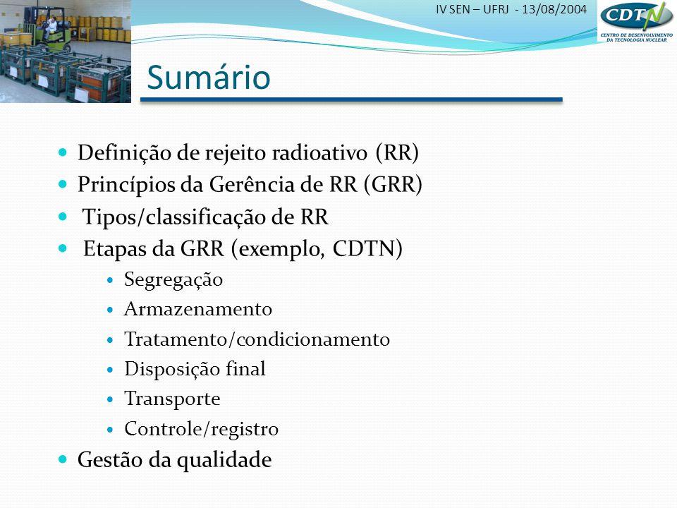 IV SEN – UFRJ - 13/08/2004 Sumário Definição de rejeito radioativo (RR) Princípios da Gerência de RR (GRR) Tipos/classificação de RR Etapas da GRR (ex