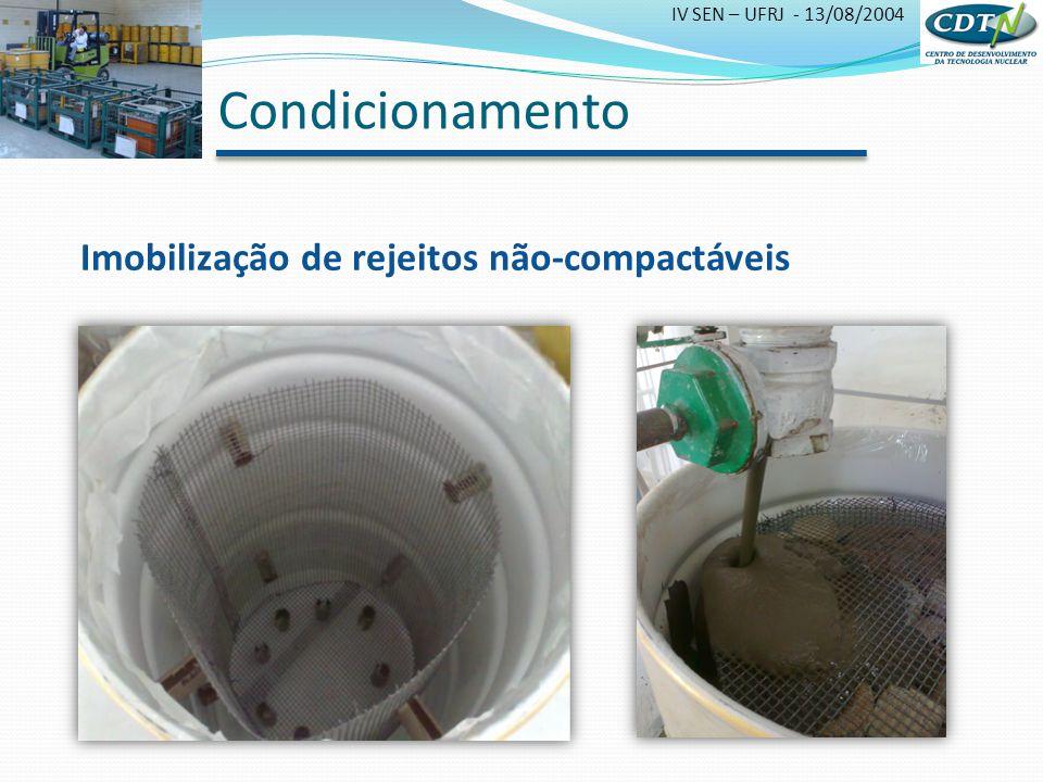 IV SEN – UFRJ - 13/08/2004 Condicionamento Imobilização de rejeitos não-compactáveis