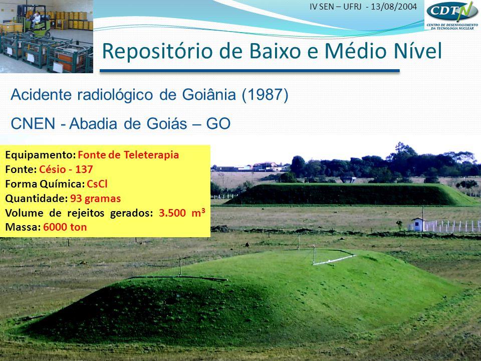 IV SEN – UFRJ - 13/08/2004 Repositório de Baixo e Médio Nível Acidente radiológico de Goiânia (1987) CNEN - Abadia de Goiás – GO Equipamento: Fonte de