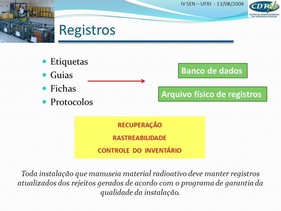 IV SEN – UFRJ - 13/08/2004 Etiquetas Guias Fichas Protocolos Banco de dados RECUPERAÇÃO RASTREABILIDADE CONTROLE DO INVENTÁRIO Toda instalação que man