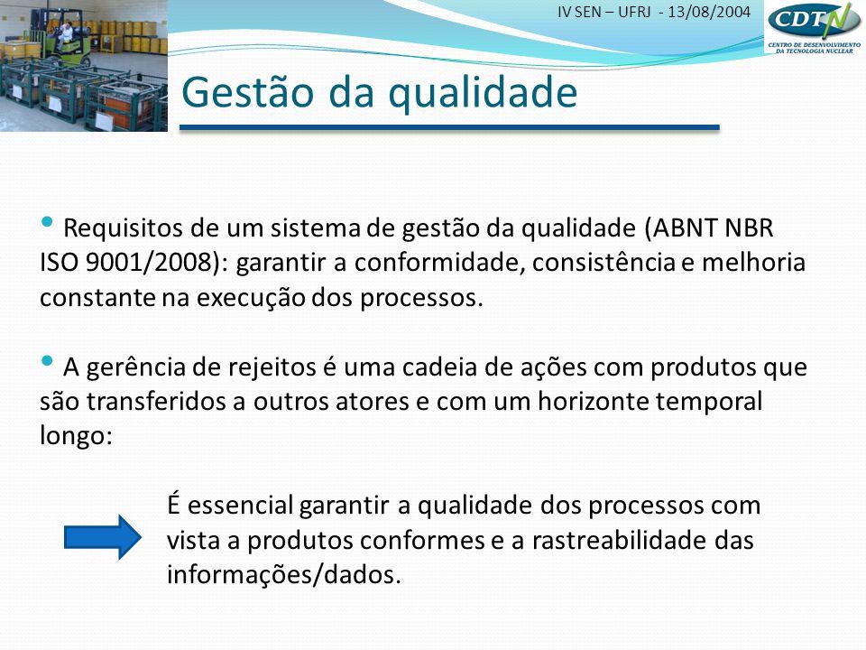 IV SEN – UFRJ - 13/08/2004 Gestão da qualidade Requisitos de um sistema de gestão da qualidade (ABNT NBR ISO 9001/2008): garantir a conformidade, cons