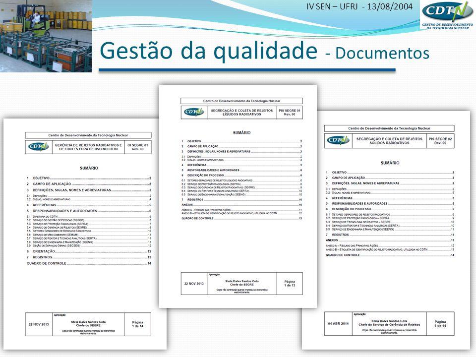 IV SEN – UFRJ - 13/08/2004 Gestão da qualidade - Documentos