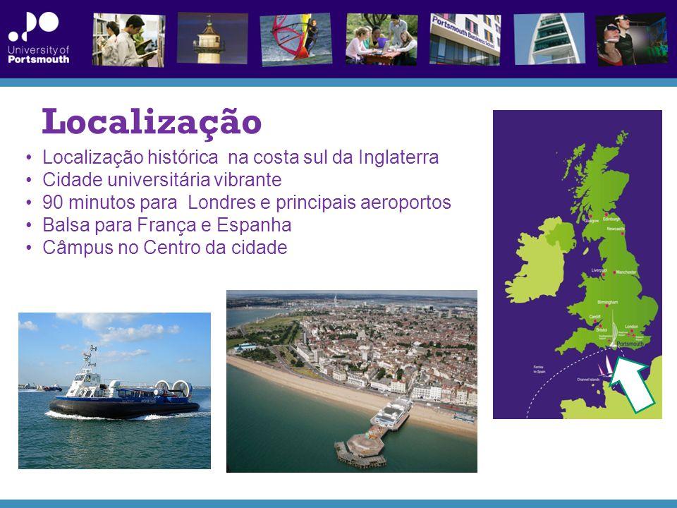 Localização Localização histórica na costa sul da Inglaterra Cidade universitária vibrante 90 minutos para Londres e principais aeroportos Balsa para França e Espanha Câmpus no Centro da cidade