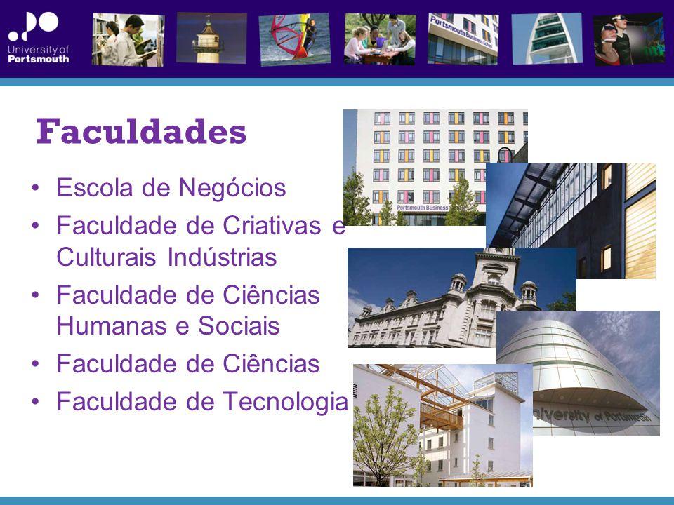 Faculdades Escola de Negócios Faculdade de Criativas e Culturais Indústrias Faculdade de Ciências Humanas e Sociais Faculdade de Ciências Faculdade de Tecnologia