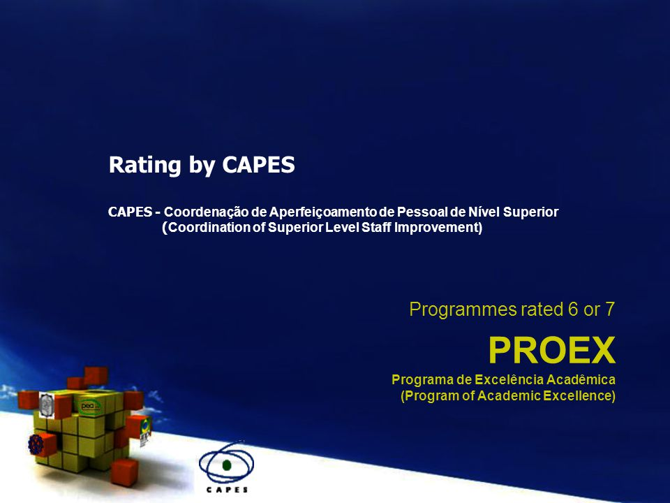 PROEX Programa de Excelência Acadêmica (Program of Academic Excellence) Programmes rated 6 or 7 Rating by CAPES CAPES - Coordenação de Aperfeiçoamento