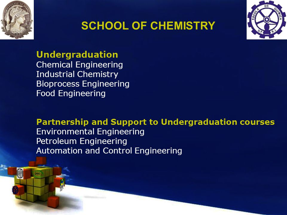 Undergraduation Chemical Engineering Industrial Chemistry Bioprocess Engineering Food Engineering Partnership and Support to Undergraduation courses Environmental Engineering Petroleum Engineering Automation and Control Engineering SCHOOL OF CHEMISTRY