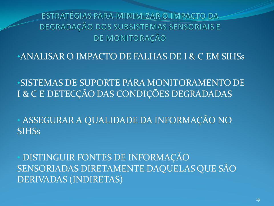 ANALISAR O IMPACTO DE FALHAS DE I & C EM SIHSs SISTEMAS DE SUPORTE PARA MONITORAMENTO DE I & C E DETECÇÃO DAS CONDIÇÕES DEGRADADAS ASSEGURAR A QUALIDA