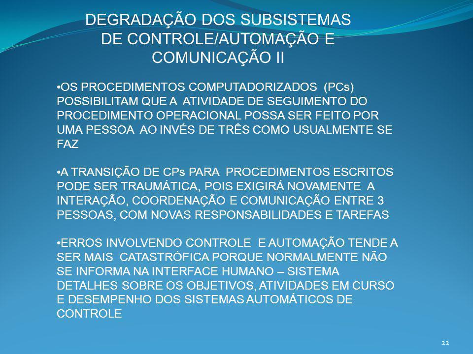 DEGRADAÇÃO DOS SUBSISTEMAS DE CONTROLE/AUTOMAÇÃO E COMUNICAÇÃO II OS PROCEDIMENTOS COMPUTADORIZADOS (PCs) POSSIBILITAM QUE A ATIVIDADE DE SEGUIMENTO D