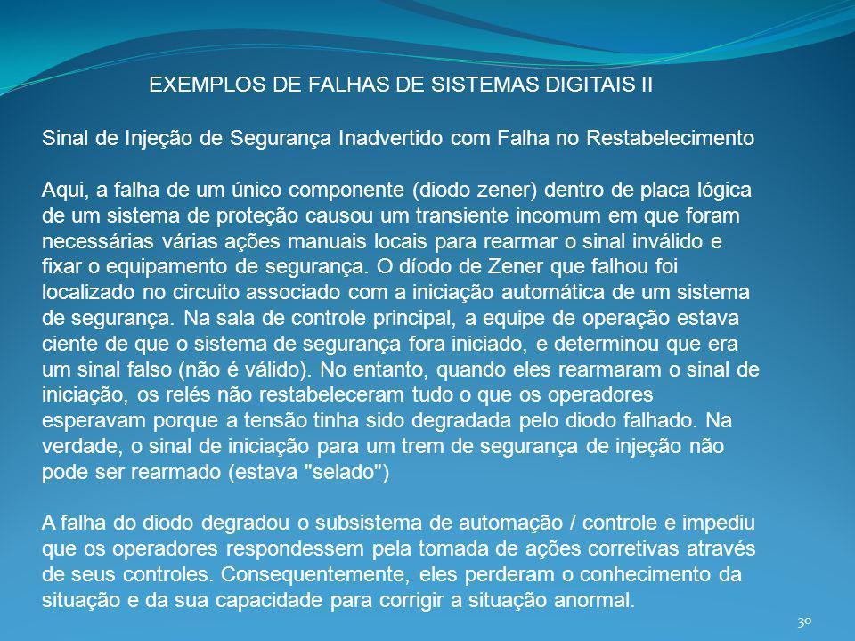 EXEMPLOS DE FALHAS DE SISTEMAS DIGITAIS II Sinal de Injeção de Segurança Inadvertido com Falha no Restabelecimento Aqui, a falha de um único component