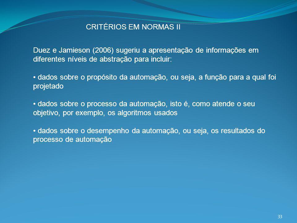 CRITÉRIOS EM NORMAS II Duez e Jamieson (2006) sugeriu a apresentação de informações em diferentes níveis de abstração para incluir: dados sobre o prop