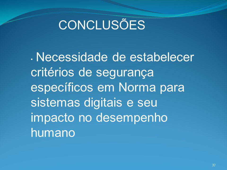 Necessidade de estabelecer critérios de segurança específicos em Norma para sistemas digitais e seu impacto no desempenho humano CONCLUSÕES 37