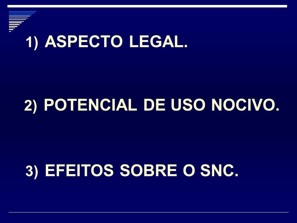 1) ASPECTO LEGAL. 2) POTENCIAL DE USO NOCIVO. 3) EFEITOS SOBRE O SNC.