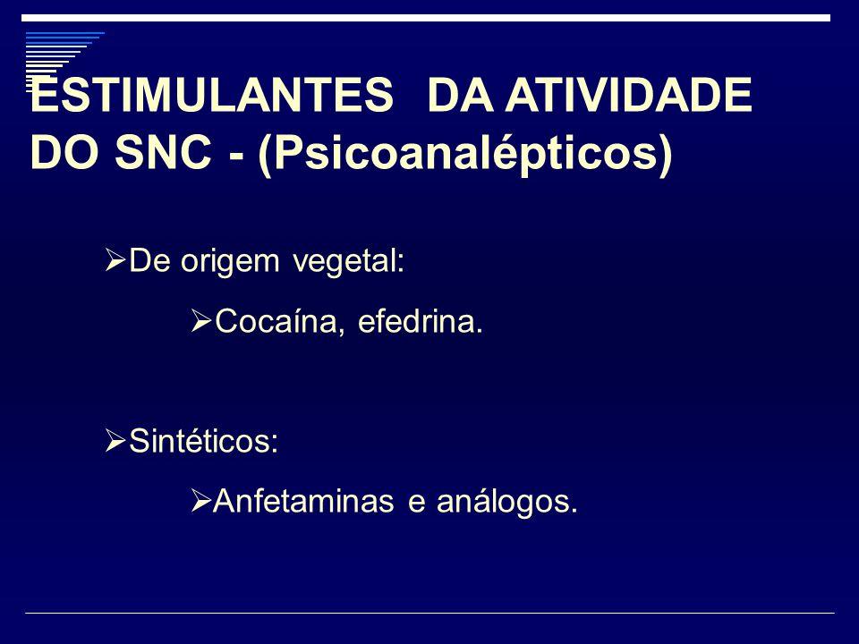 ESTIMULANTES DA ATIVIDADE DO SNC - (Psicoanalépticos)  De origem vegetal:  Cocaína, efedrina.  Sintéticos:  Anfetaminas e análogos.